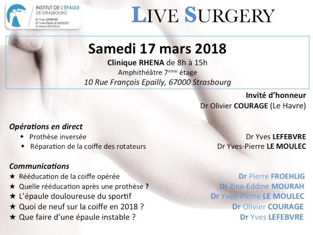 17 mars Live Surgery à Strasbourg